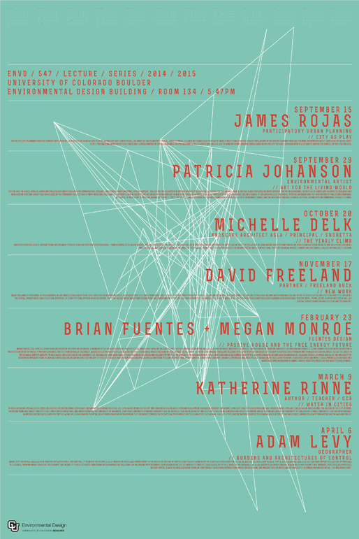 """5:47 Lecture Series"" at the University of Colorado, Boulder. Poster design: Charles Newmyer. Courtesy of Charles Newmyer."