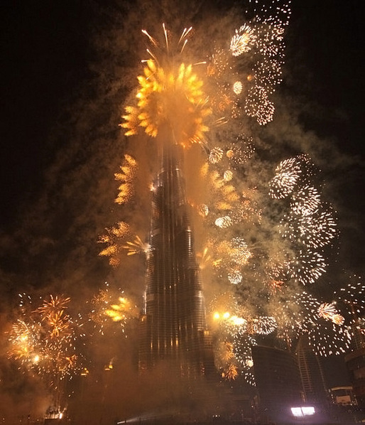 Opening ceremony of the Burj Khalifa, currently the tallest man-made structure in the world. Despite its impressive height of 829.8 m (2,722 ft), it's still only a half-miler. (Image via Wikipedia)