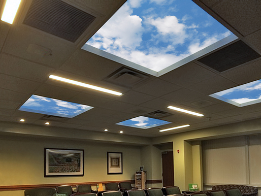 The Thomas P. and Marcia L. Marker Revelation SkyCeiling at The Women's Board Center for Radiation Therapy at Rush University Medical Center.