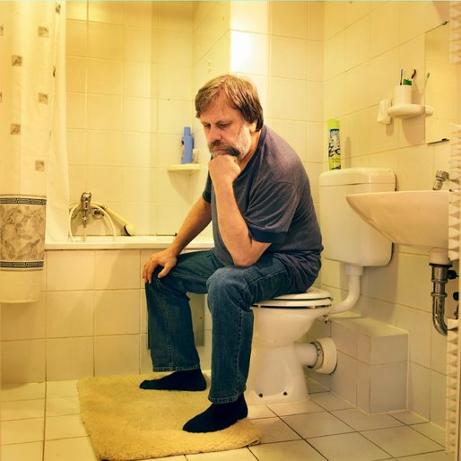 Slavoj Zizek on the toilet. From: