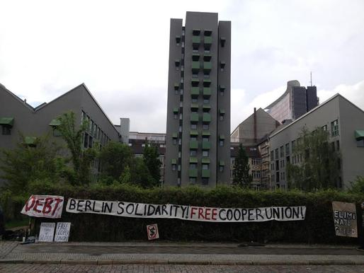 Banners placed in front of Kreuzberg Tower