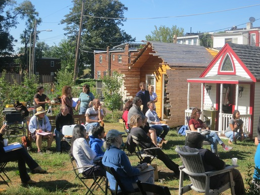 Participants at a Tiny House Design workshop. Image courtesy Boneyard Studios.