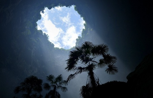 A view from the bottom of the sinkhole. Credit: SONG WEN/XINHUA/ZUMA PRESS via Wall Street Journal