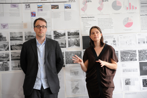 Michael Meredith and Hilary Sample of MOS present at the Foreclosed:Rehousing the American Dream Open Studios at MoMA PS1 on June 18, 2011. Photographs by Don Pollard. © 2011 The Museum of Modern Art.
