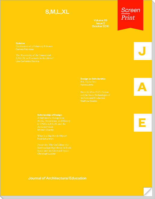 """Screen/Print #37: """"S,M,L,XL"""" from the Journal of Architectural Education"""
