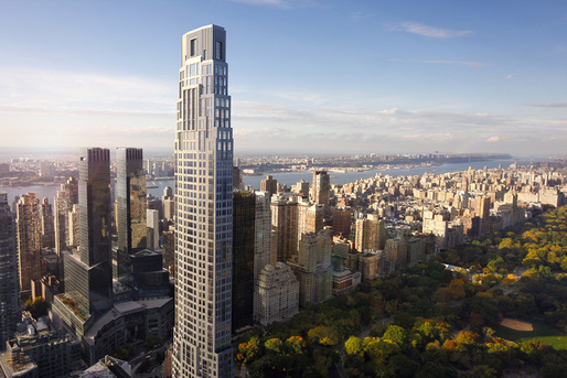 Rendering of the Robert A.M. Stern-designed 220 Central Park South tower. (Image: Neoscape; via curbed.com)