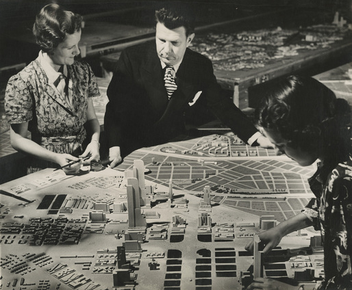 Richard Garrison, Bel Geddes with Futurama Diorama, ca. 1939. Image courtesy of the Edith Lutyens and Norman Bel Geddes Foundation / Harry Ransom Center