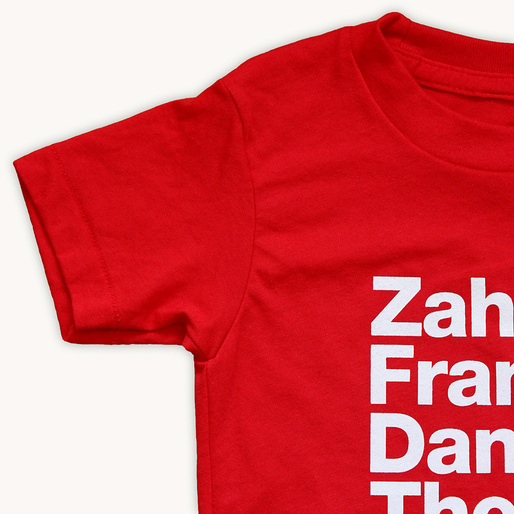 ZAHA & FRANK & DANIEL & THOM kids t-shirt by Tiny Modernism. Available in kids sizes 2T, 4T and 6.
