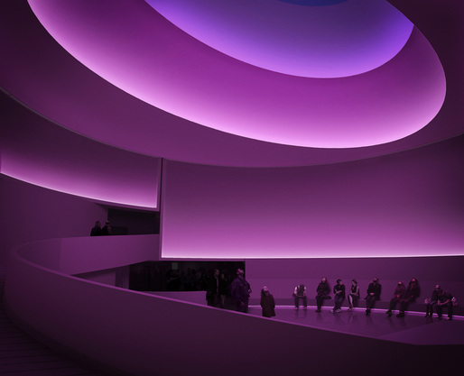 James Turrell: Rendering for Aten Reign, 2013, Daylight and LED light, Site-specific installation, Solomon R. Guggenheim Museum, New York  James Turrell, Rendering: Andreas Tjeldflaat, 2012  SRGF