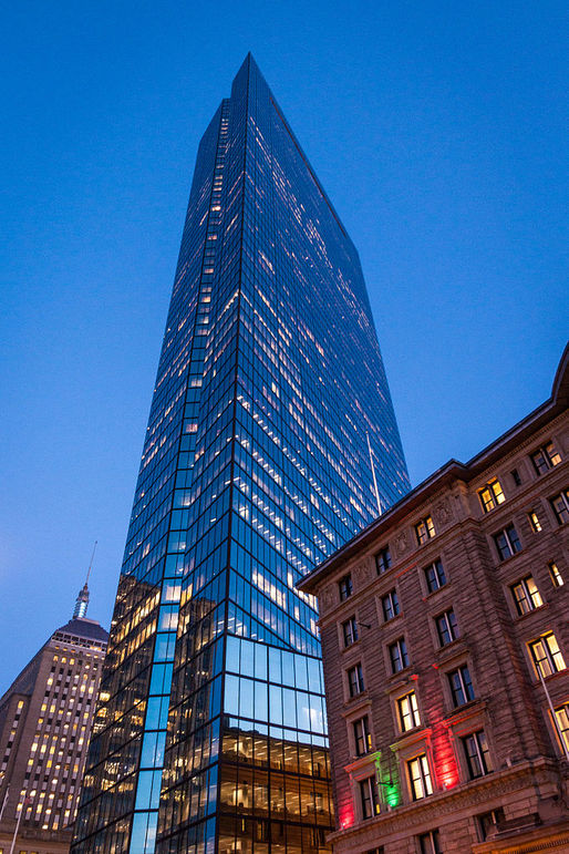 New England's tallest building can no longer call itself 'John Hancock Tower' because the financial services company Jonn Hancock is not a tenant in the office high-rise anymore. (Photo: Tim Sackton/Wikimedia Commons)