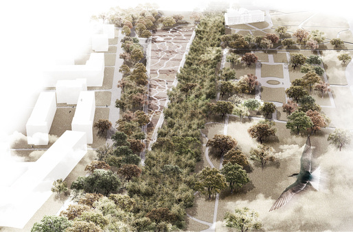 Bird's eye view of the Garden of the 21st Century and exhibition pavilion at the Royal Łazienki Museum in Warsaw. Image courtesy of Mecanoo