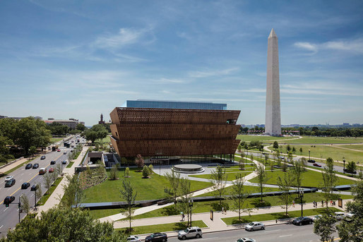 GGN's landscape design for the National Museum of African American History and Culture situates the building on the National Mall, adjacent to the Washington Monument. (Photo credit: Andrew Moore)