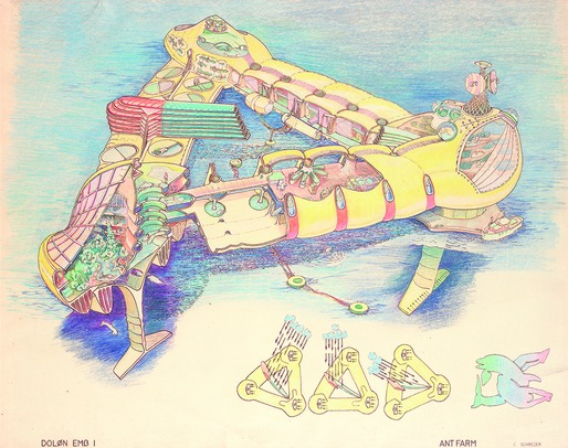 Ant Farm's original Dolphin Embassy, conceived for the 1973 exhibition 2020 Vision (Contemporary Arts Museum Houston), also referred to as the 'RV John Lilly' to distinguish it from later iterations. Ant Farm, DOLON EMB 1 (Drawing by Curtis Schreier). 1975, hand colored brownline, 18x22 in. Berkeley Art Museum & Pacific Film Archive, 2005.14.66.