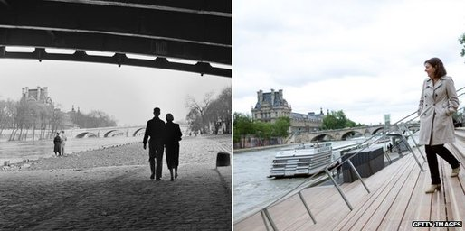 The Seine river bank in 1954 and in June, as deputy mayor Anne Hidalgo inspects the new berges