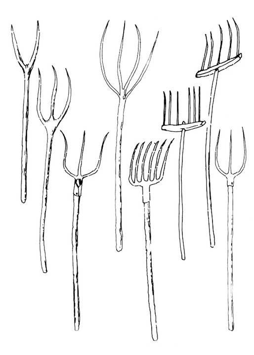 Extra-Urban Material Culture, Tool Catalogue overseen by Michele De Lucchi: Pitchforks, 1973-78