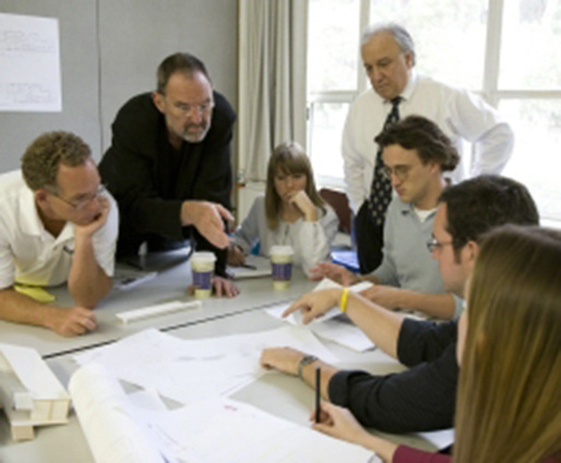 Distinguished Professor Thom Mayne works with students to develop the Float House