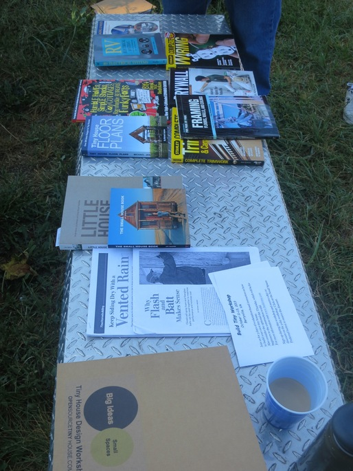 Educational materials on display at a Tiny House Design workshop. Image courtesy of Boneyard Studios.