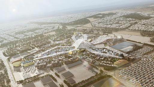 Aerial view of the HOK-led Dubai World Expo 2020 master plan. Image: HOK