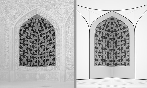 Corner surface pattern, as is (left) and Corner surface pattern, as it would be if the pattern were consistently applied, without modification, from bottom to top (right).