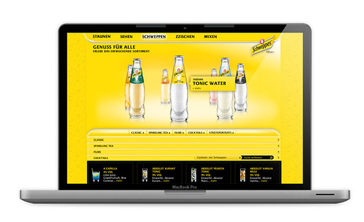 Schweppes Relaunch, Relaunch of Schweppes Germany website