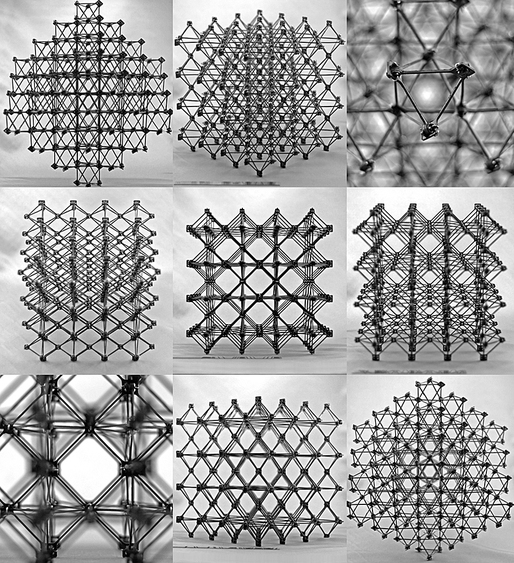 "Different views of the ""cuboct"" lattice assembly which would make up the structure."