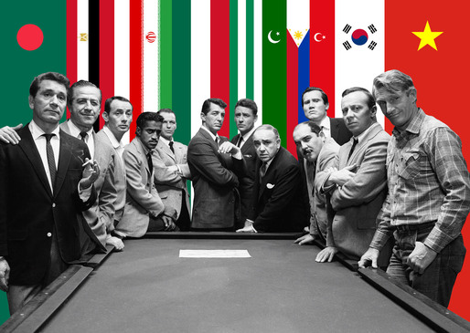 "Image: ©BOARD (http://www.b-o-a-r-d.nl/). Original image: Photo still from Lewis Milestone's 1960 ""Ocean's 11"" film starring Peter Lawford, Frank Sinatra, Dean Martin, Sammy Davis, Jr., and Joey Bishop. ©Warner Bros"