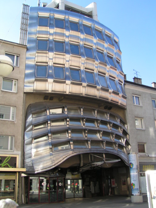 Former Zentralsparkassenfiliale Favoritenstrasse in Vienna, District Favoriten. The Building designed by Gnther Domenig via WikiMedia