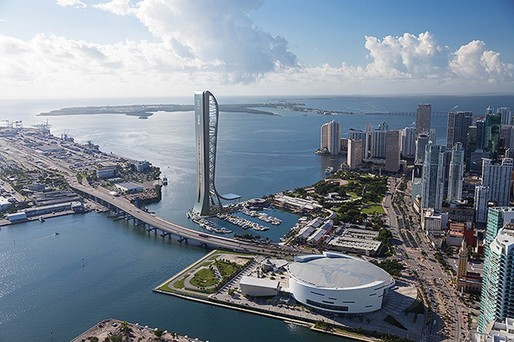 Rendering of the proposed SkyRise entertainment and observation tower in Miami's Biscayne Bay. If completed, it could become the tallest building in Miami and in the State of Florida. (Image via skyrisemiami.com)