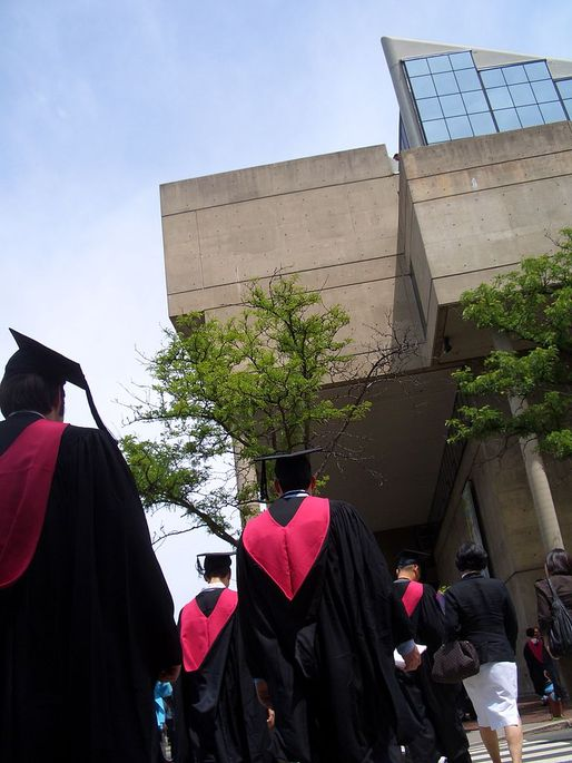 Students on graduation day at Gund Hall, home of Harvard's Graduate School of Design. Photo: K. Harris via Wikimedia Commons