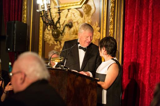 2015 President's Medal recipient Henry N. Cobb with Architectural League President Billie Tsien. Photo: Fran Parente.