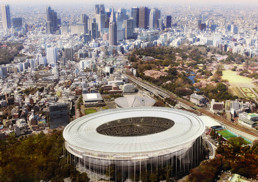 Bird's eye view of the proposed Tokyo Olympic Stadium (Image: MenoMenoPiu Architects &amp; FHF Architectes)