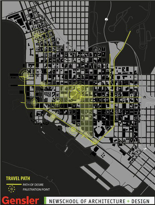 A site analysis of San Diegos urban core from the Gensler-NSAD design studio. Students are envisioning the future downtown area in 2050 to identify potential design challenges and solutions. Credit: Ei Khin Khin