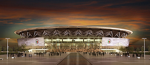 Night view of Manila's new mega arena, designed by Populous (Image courtesy of Populous)