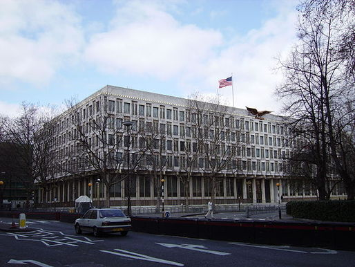 Security barriers outside the U.S. Embassy in London in 2006. The new U.S. Embassy, designed by KieranTimberlake, is under construction in the Nine Elms district. Photo via Wikipedia.