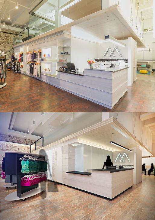 Photo by Brett Gullborg of our retail, entrance, and reception space, adjacent one of our first marketing renderings (bottom) by Ben Althoff of Be The To Studios.