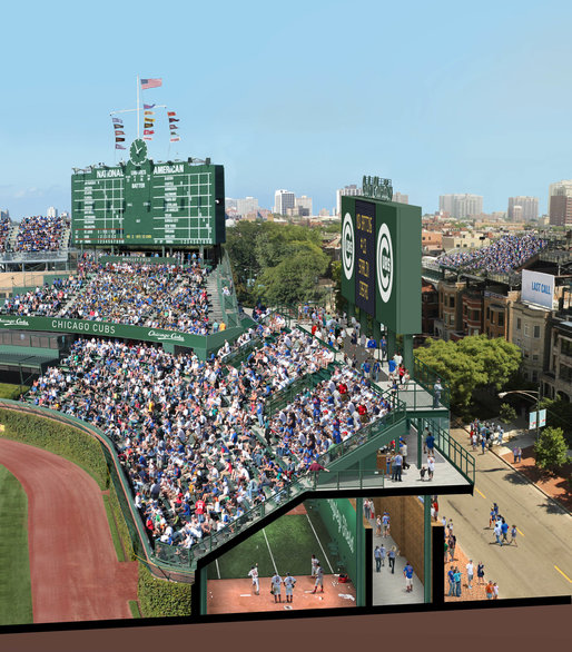A Cubs rendering of proposed changes to Wrigley Field shows a large sign in right field — one of seven planned — and bullpens beneath the bleachers. Credit Chicago Cubs
