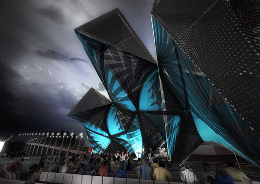 "Rendering of the competition-winning SCI-Arc Graduation Pavilion ""League of Shadows"" by P-A-T-T-E-R-N-S (Image: P-A-T-T-E-R-N-S)"