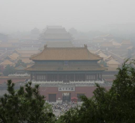 Forbidden City, smogged. Image via Wikipedia.