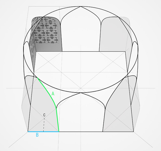 Corner geometry: square meeting circle