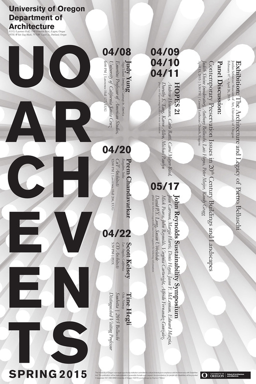 Poster design by U. Oregon architecture student Stephen P. Maher.