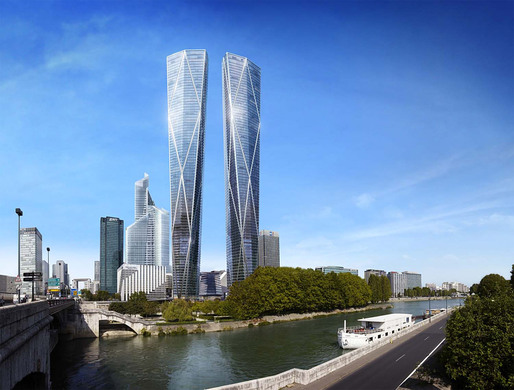 The Foster + Partners-designed Hermitage Plaza in Paris-Courbevoie (Image: Foster + Partners)