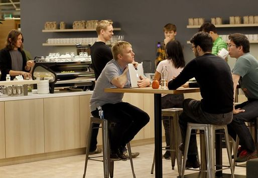 Square's in-house coffee bar at their San Francisco office, image via SFGate.