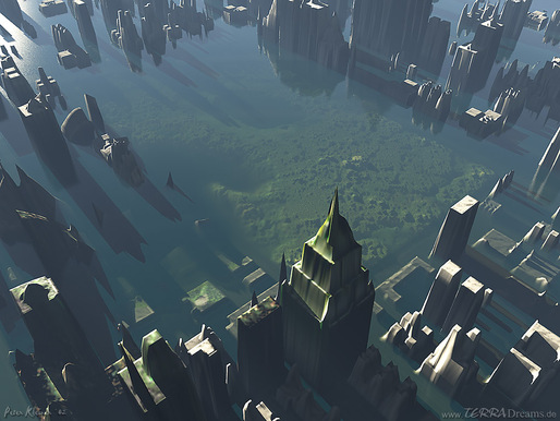 According to some, our current goals to fight global warming may not be enough. Image: An artist's imagining of a flooded New York City. Credit: Andrea Della Adriano/Flickr