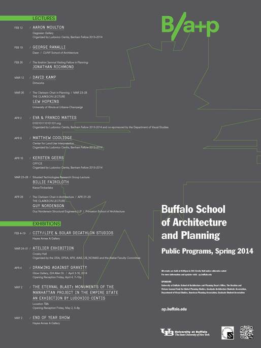 Spring '14 Events at University at Buffalo. Image courtesy of University at Buffalo School of Architecture and Planning.