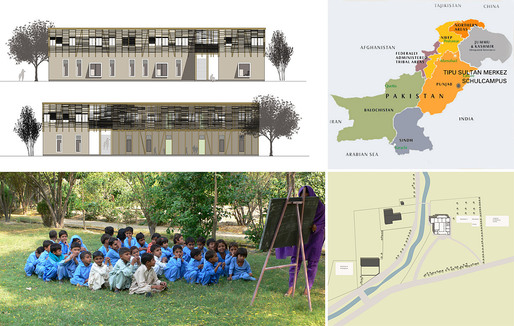 Holcim Gold Award: Locally-manufactured cob and bamboo school building, Jar Maulwi, Pakistan by Eike Roswag, Ziegert Roswag Seiler Architekten Ingenieure, Germany: Location of the earthen school on the existing TSM campus.