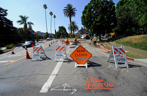 Road repairs in Los Angeles. Credit: Kevork Djansezian / Getty Images