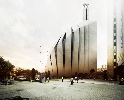 Street view of the Prishtina Central Mosque entry by TARH O AMAYESH Consultant Architects &amp; Town Planners (Image: TARH O AMAYESH)