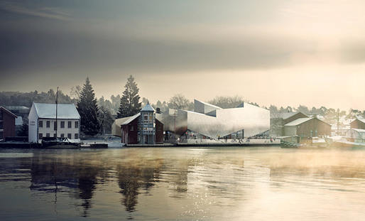 Visualization of the new Maritime Museum and Science Center in Porsgrunn, Norway, designed by COBE and TRANSFORM