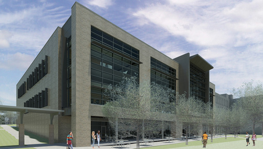 MTC Library - Pedestrian view from South / Rosewood Drive.