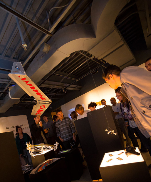 "At the ""Air Rights"" exhibition. Photo by Mark Gjukich, courtesy Taubman College of Architecture and Urban Planning"